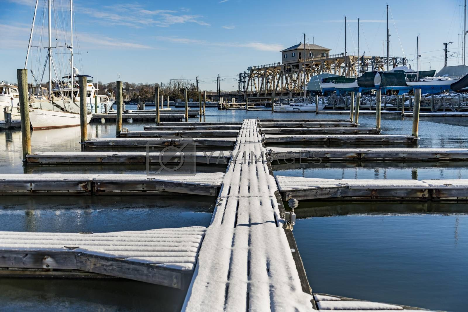 Seaport docks and boats in Mystic CT, USA