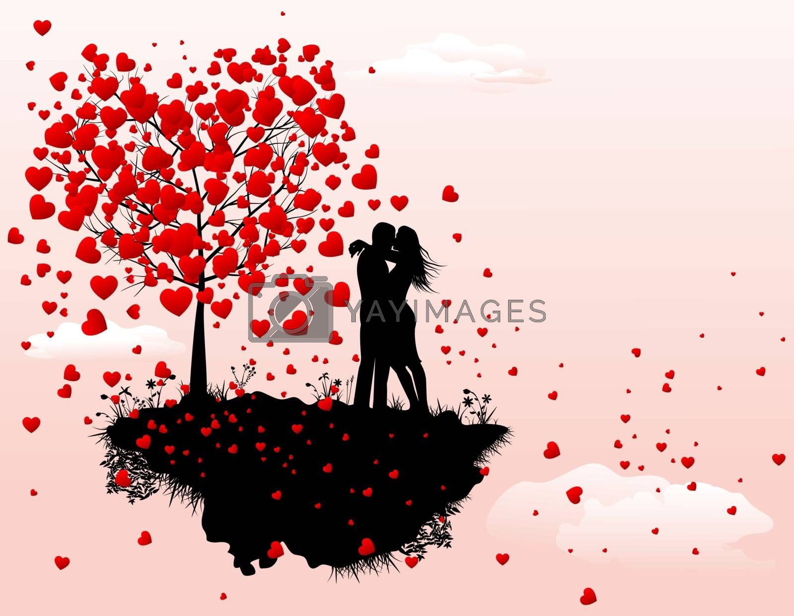 Silhouette of a couple of enamored man and woman. A man and a woman next to a tree with red hearts. A flying island, a tree with hearts, a guy and a girl.