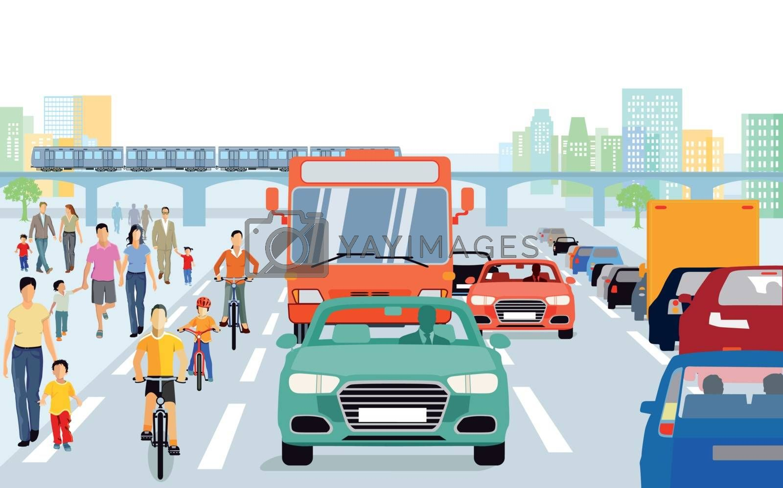 City with pedestrians, cyclists in traffic
