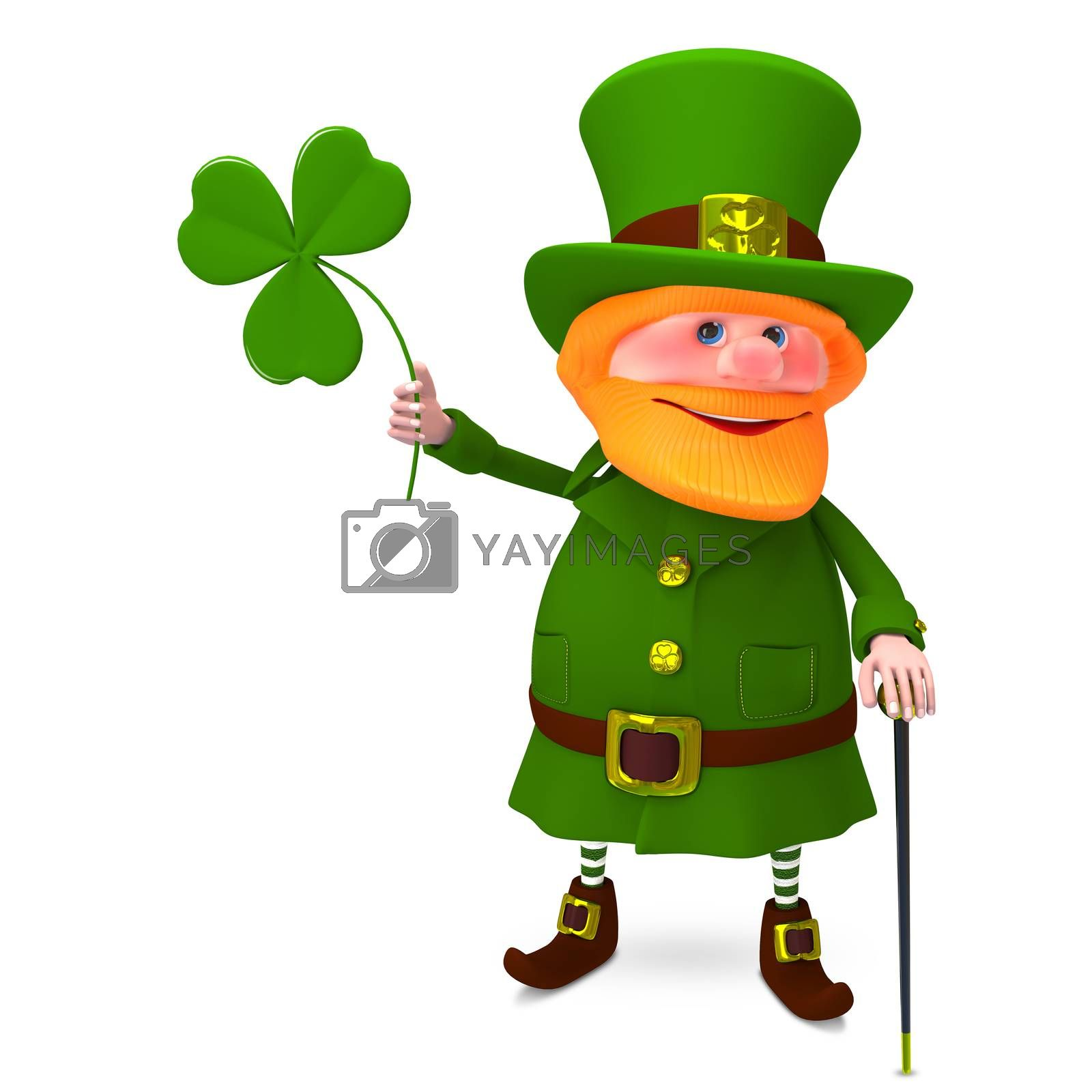 3D Illustration of Saint Patrick with Clover on a White Background