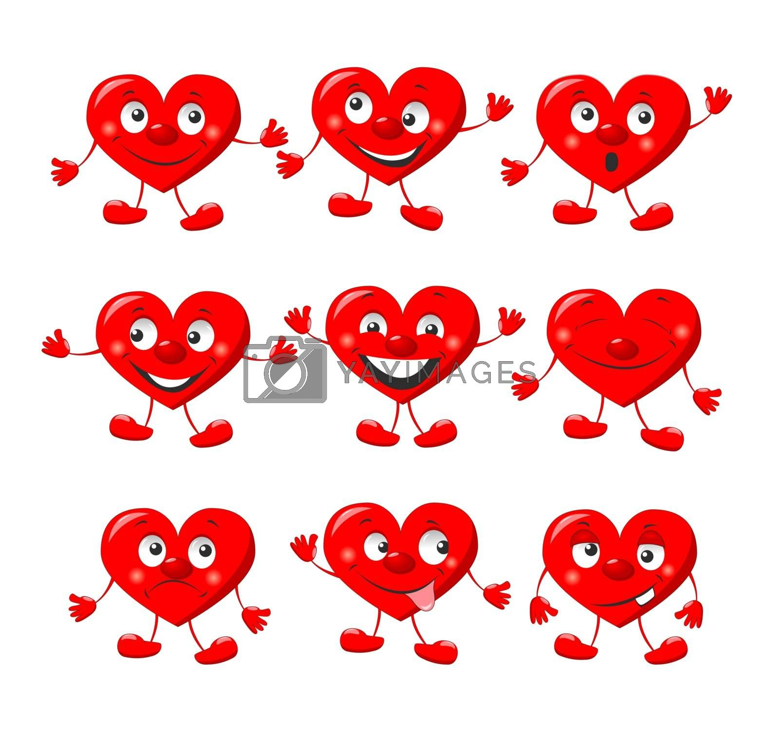 Cartoon cheerful hearts, characters for Valentine's Day