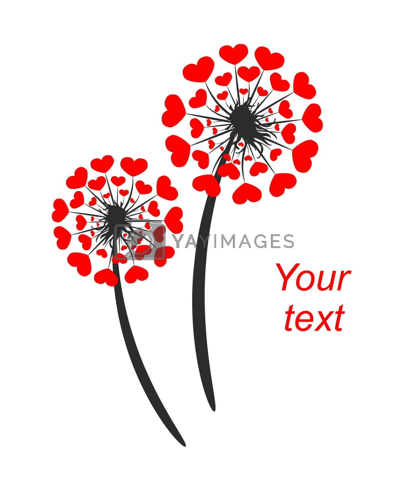 Abstract plant of a dandelion with hearts. Greeting card for Valentine's Day. Dandelion and hearts on a white background.