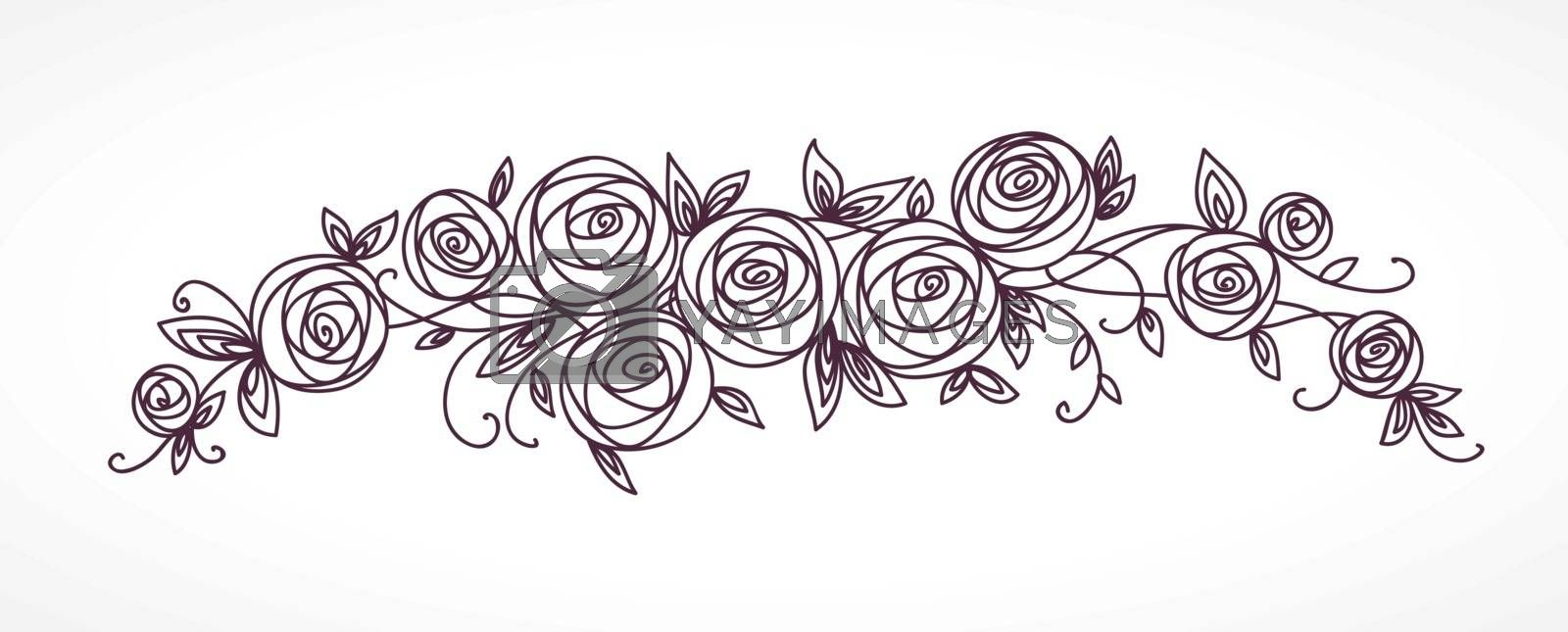 Stylized rose flowers bouquet. Branch of flowers and leaves interlacing