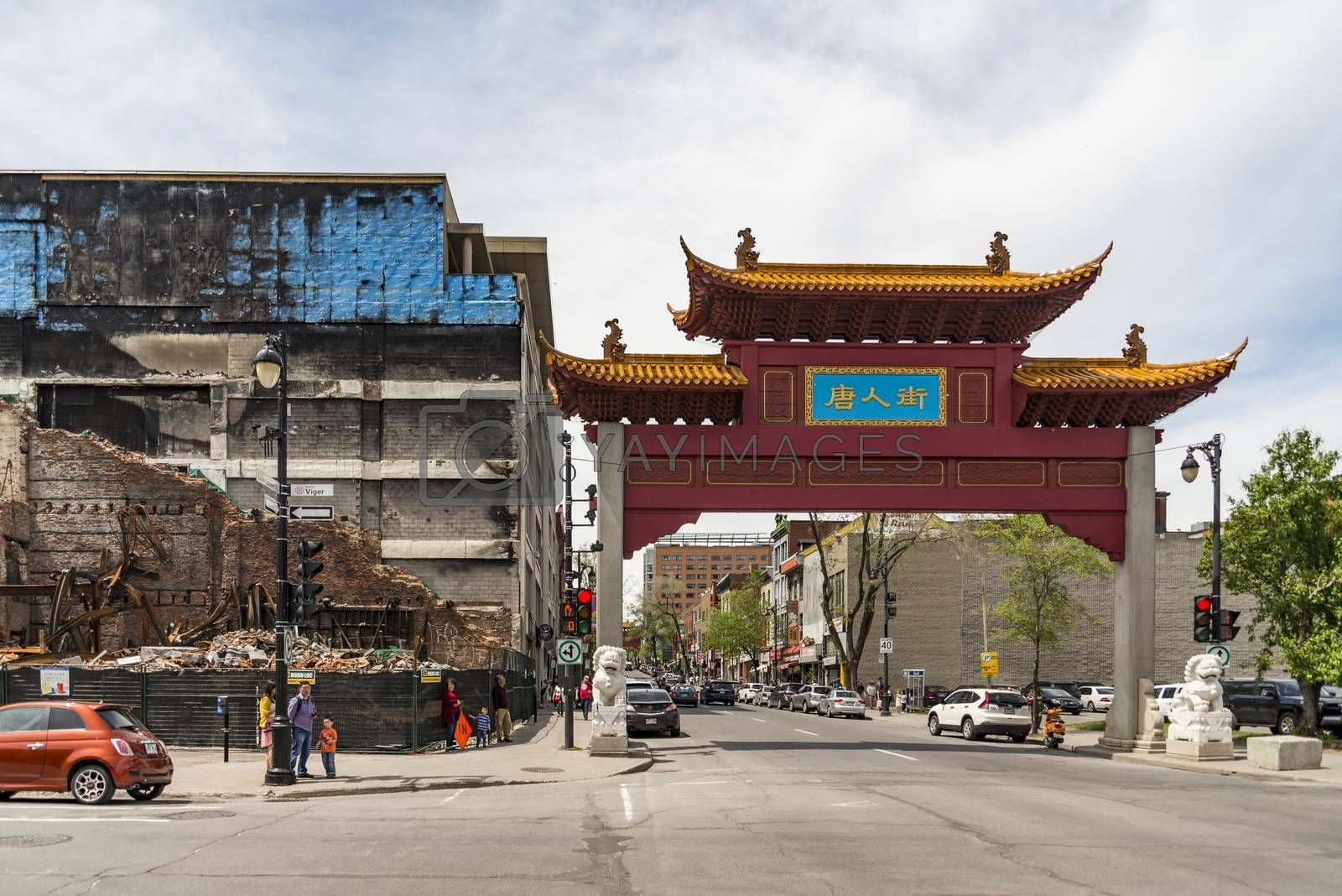 MONTREAL - MAY 28: Chinatown Gateway at the entrance of Montreal Chinatown at Boulvard St-Laurent on May 28, 2017 in Montreal, Quebec, Canada.