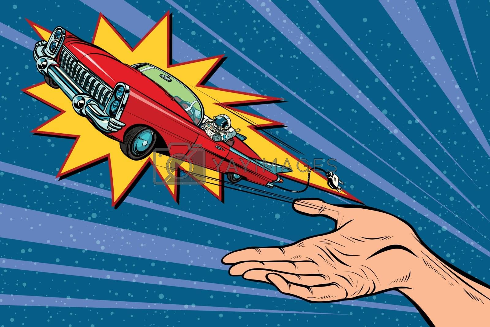 Electric vehicles and green transport, mankind eco progress. Pop art retro comic book vector cartoon hand drawn illustration