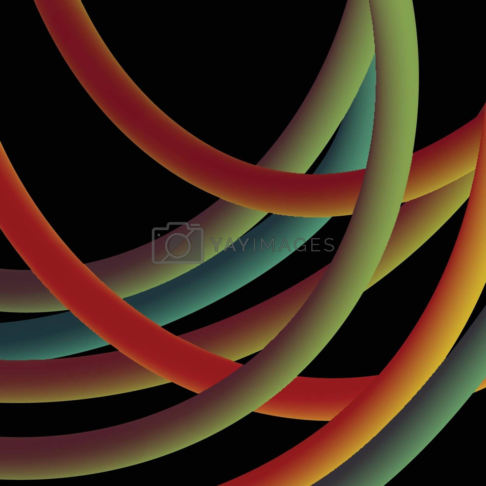 Twisted multicolored electrical wires on a black background. Vector illustration