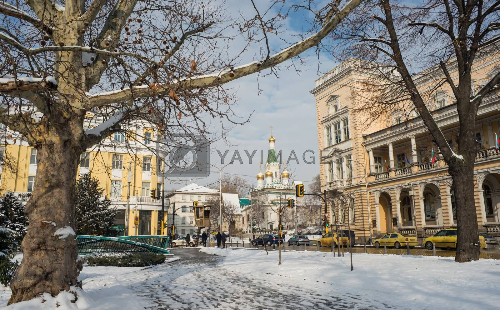A winter view of downtown Sofia, Bulgaria with St. Nicholas of Sofia the New church