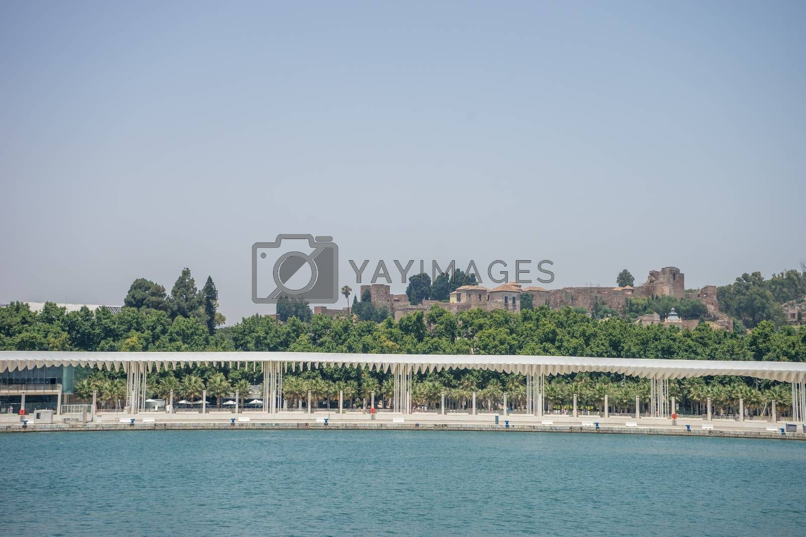 Castle overlooking the sea at Malaga, Spain, Europe on a summer day with clear blue skies