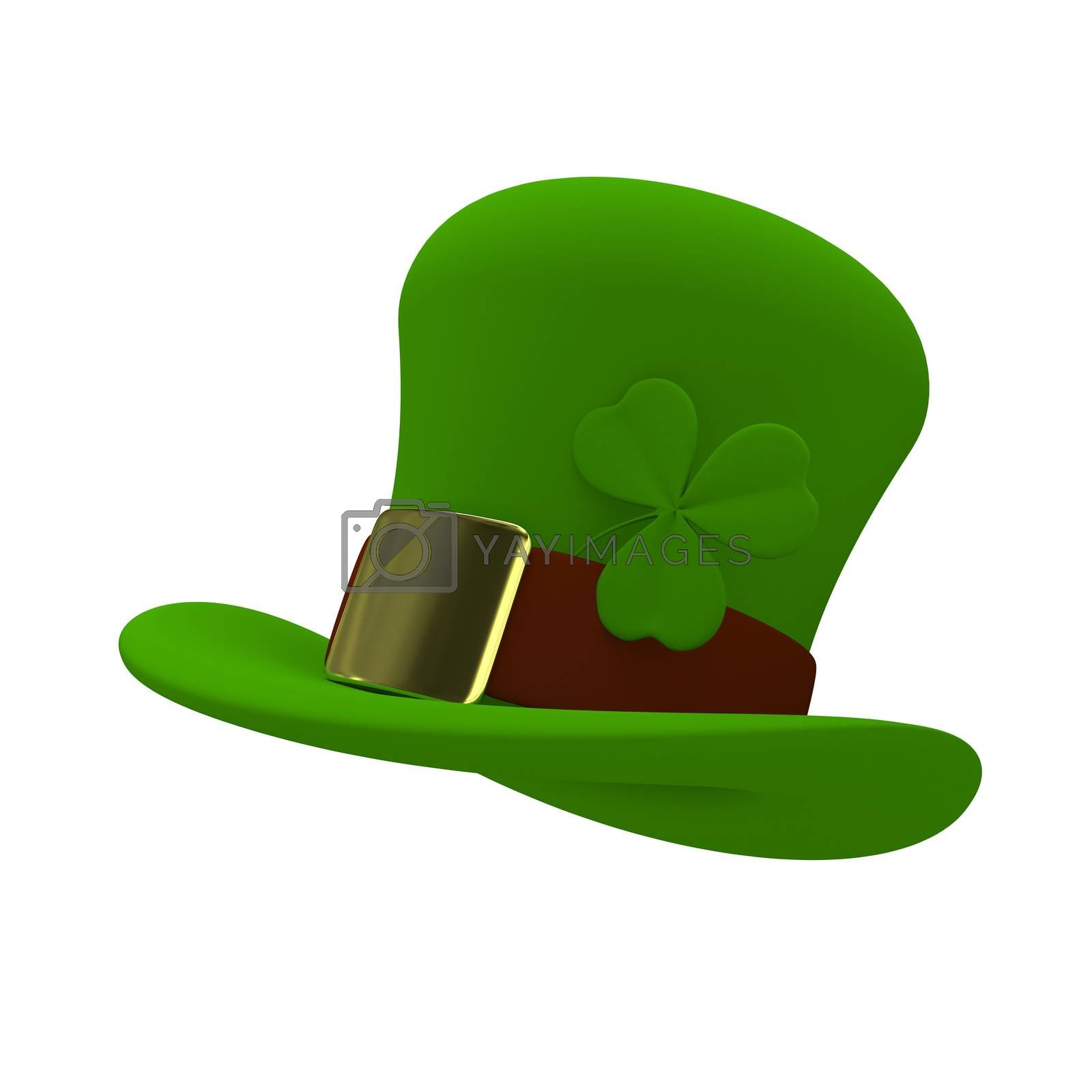 3D Illustration a Green St. Patrick's Day Hat on a White Background