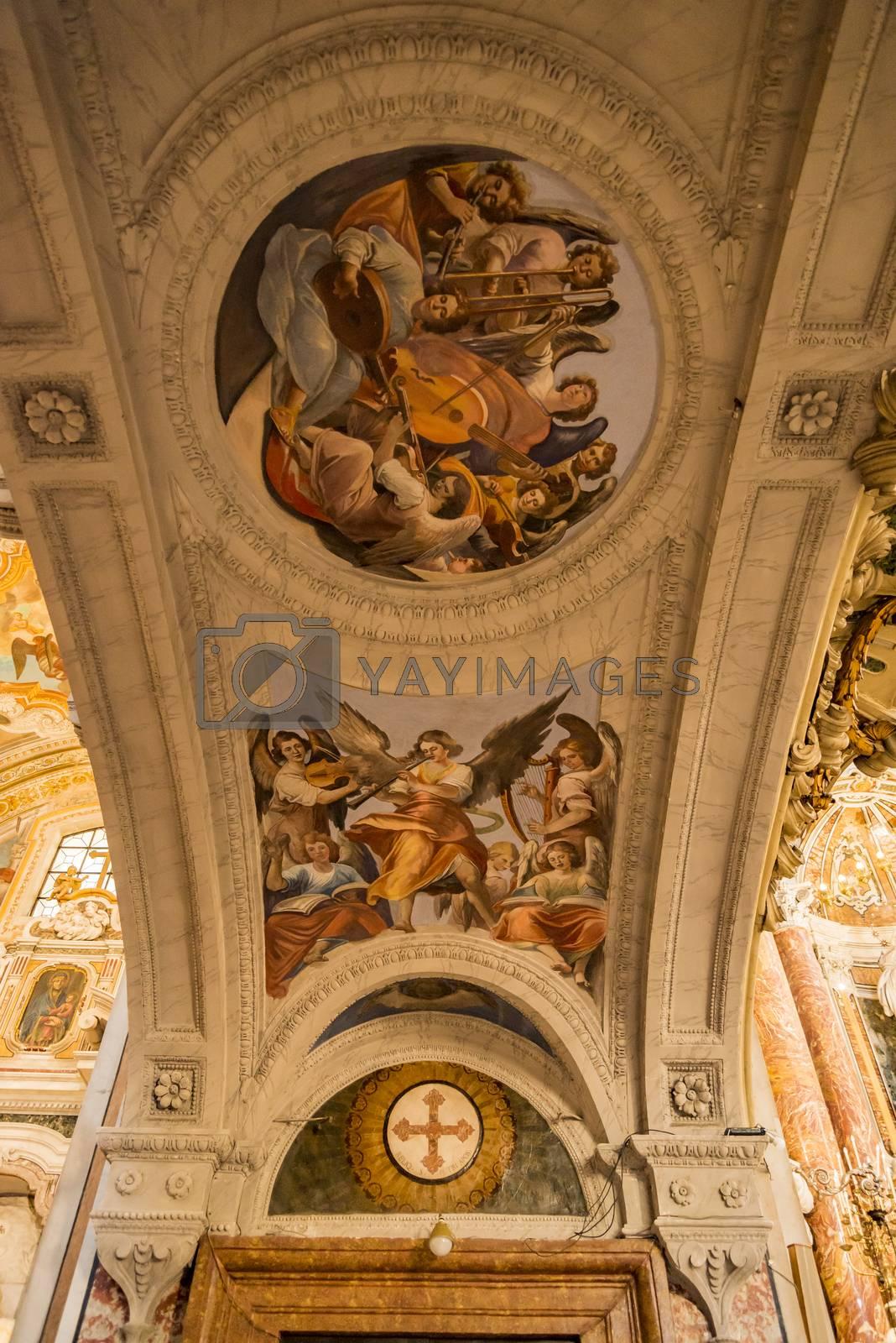 Interior in Gesu Nuovo church in Naples, Italy