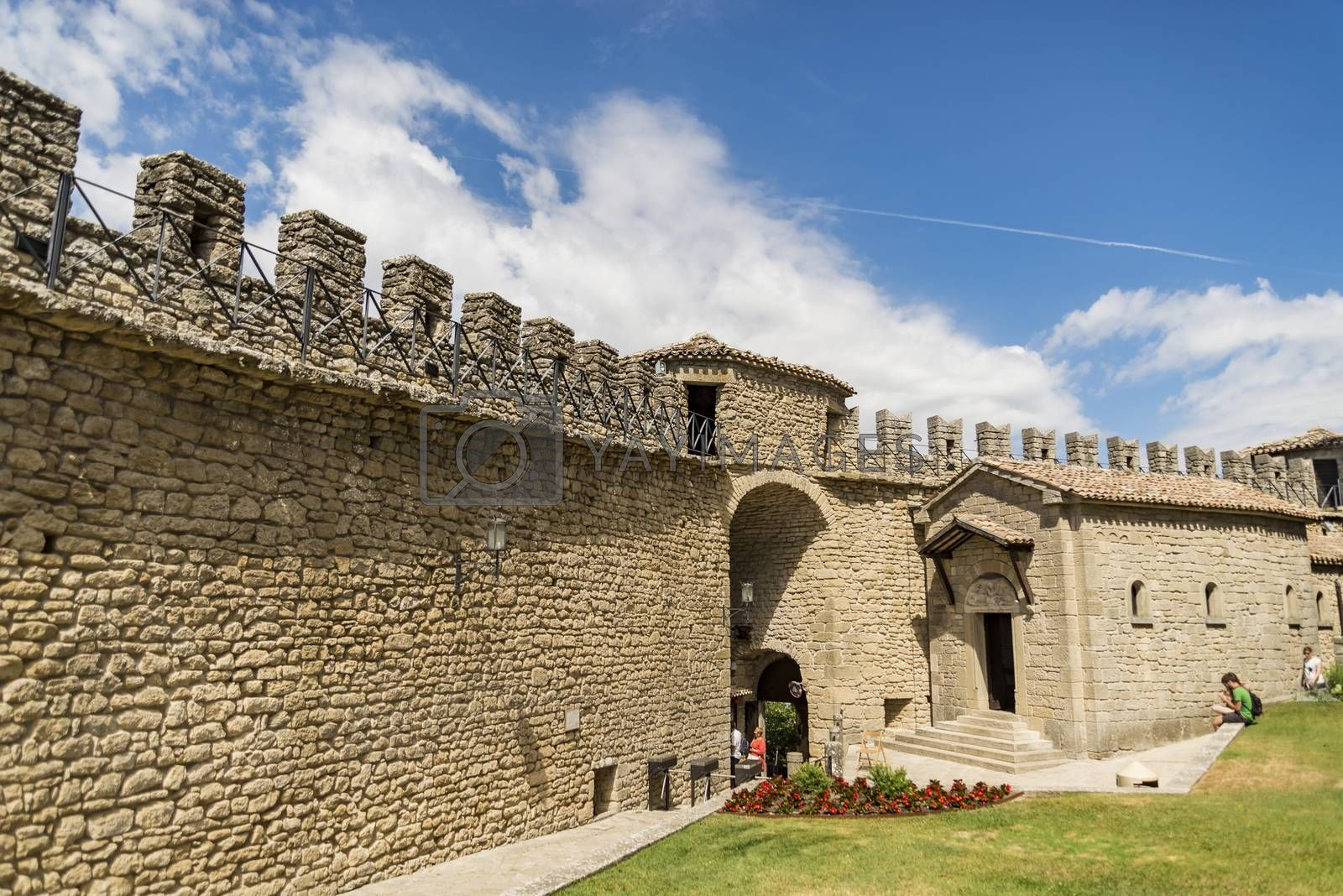 View of the fortress on the rock of San Marino Republic