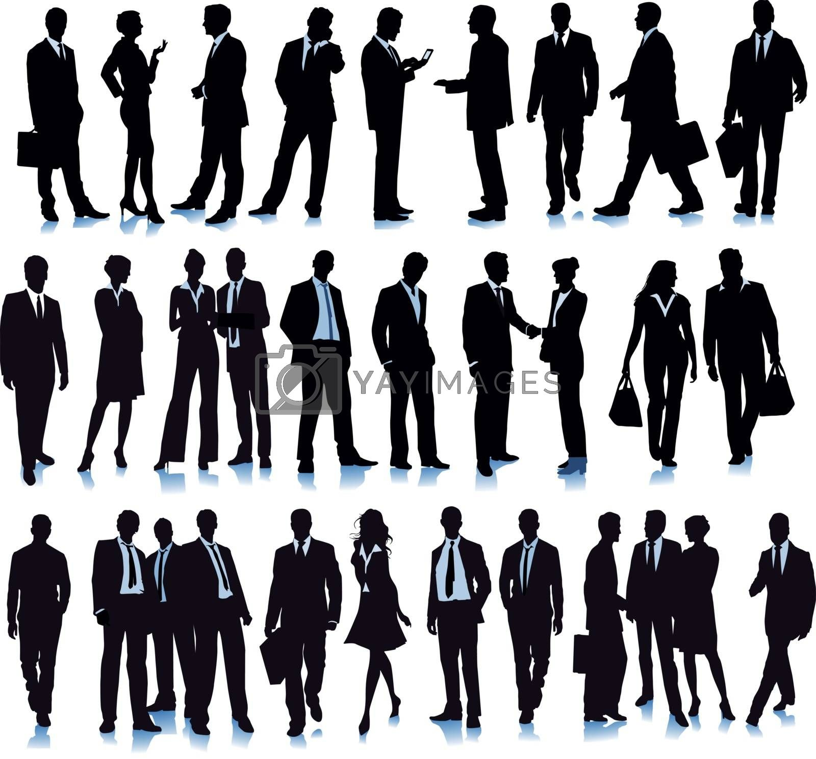Group with diverse business people, illustration