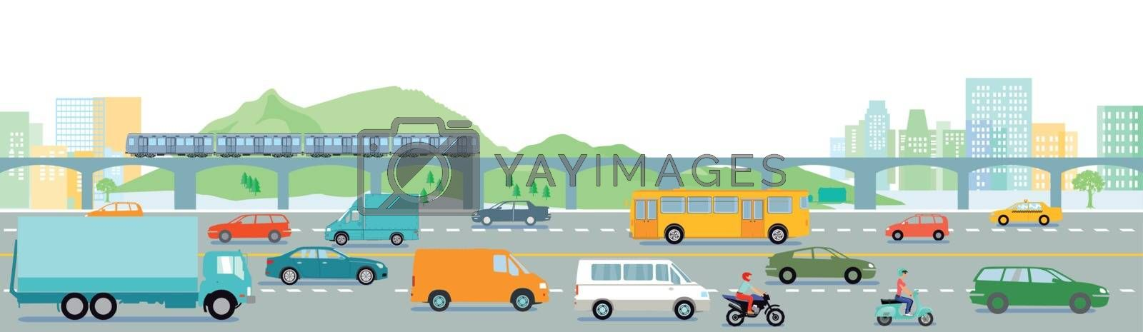 Highway with big city illustration