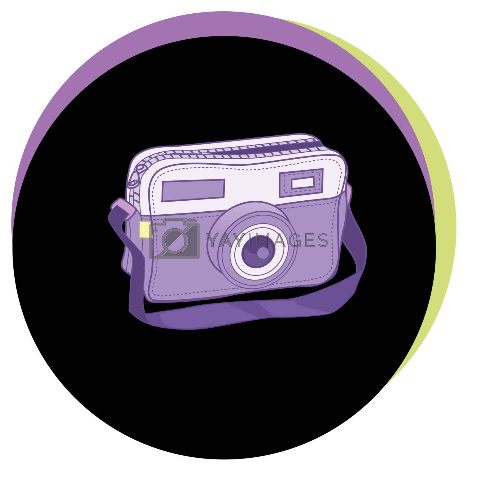 Fashion Vector Illustration. Stylish ladies bag in the form of a camera