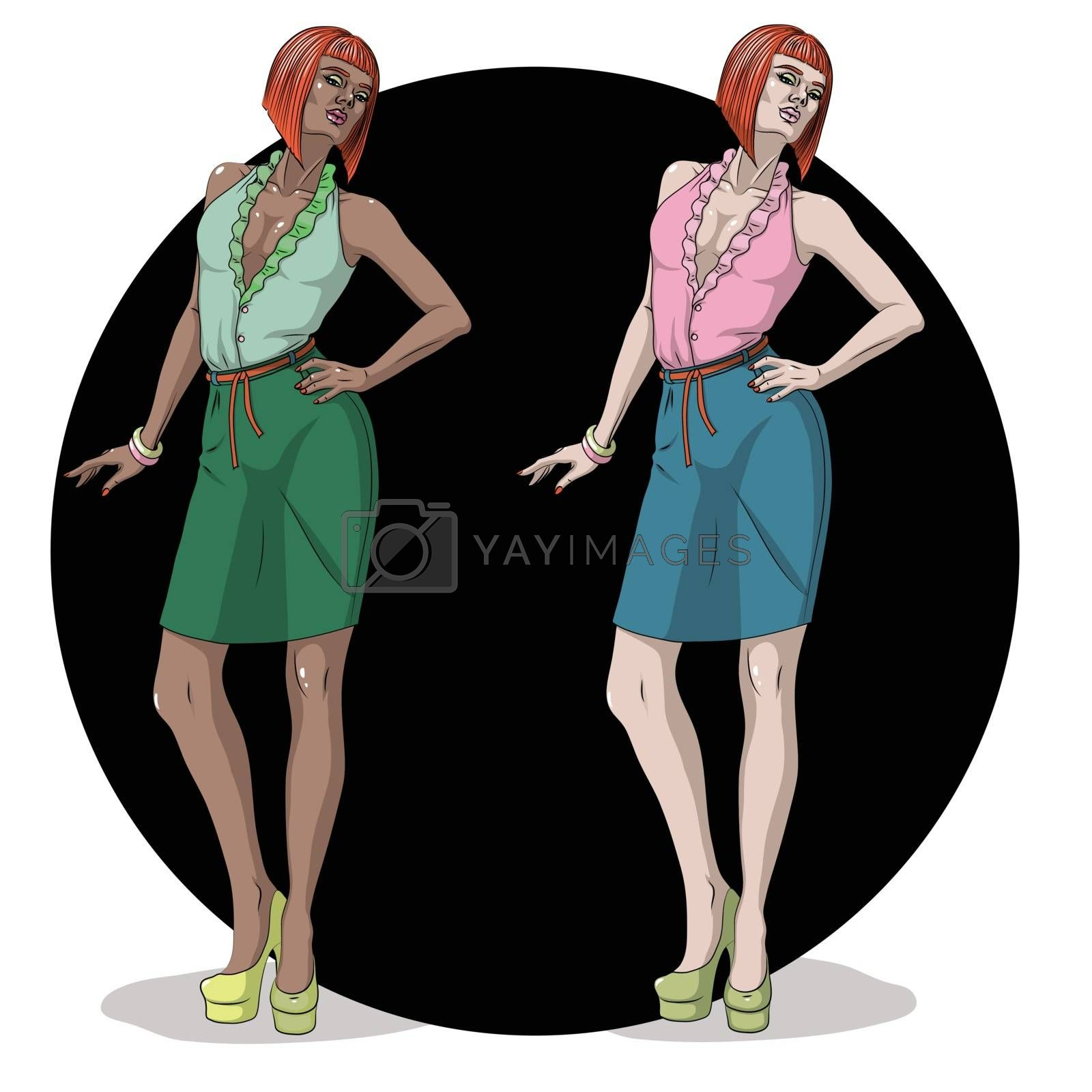 Fashion Vector Illustration. Two beautiful young model woman is posing