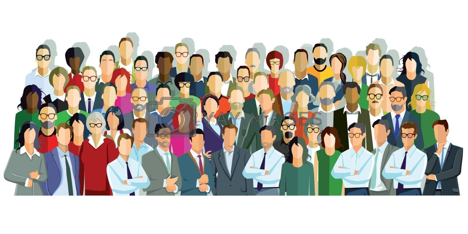 Large group of people introduce themselves, illustration