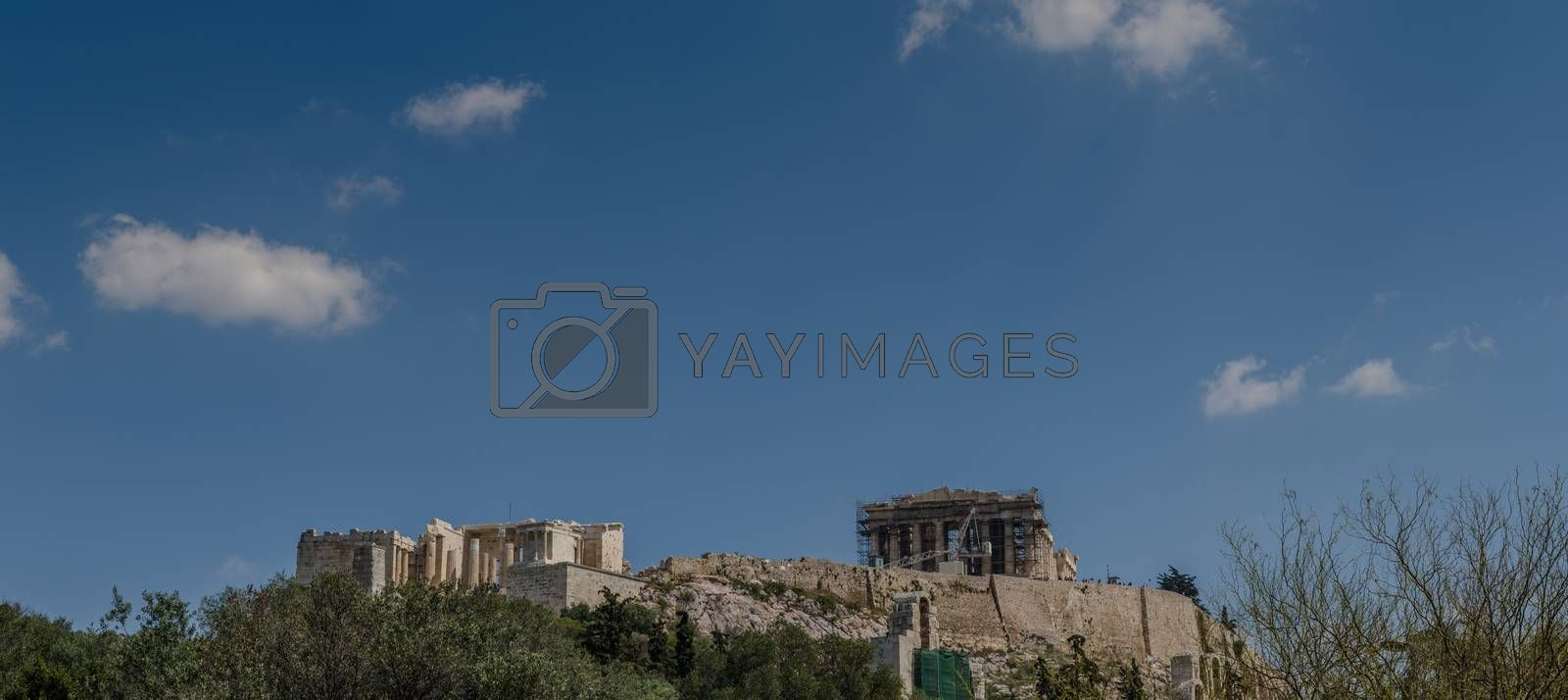 Acropolis in Athens and sky panorama view
