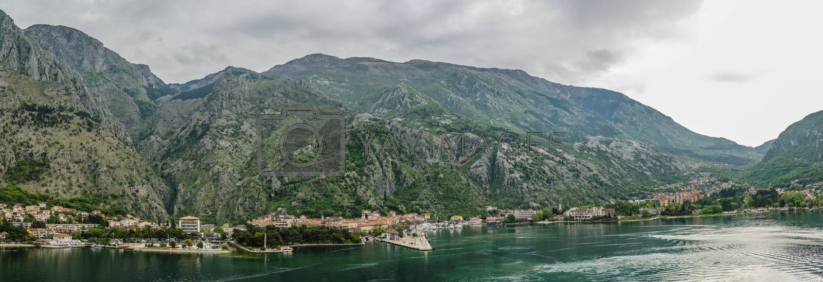 mountains in the city of Kotor panorama view