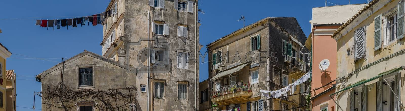 laundry in Corfu town in summer panorama view