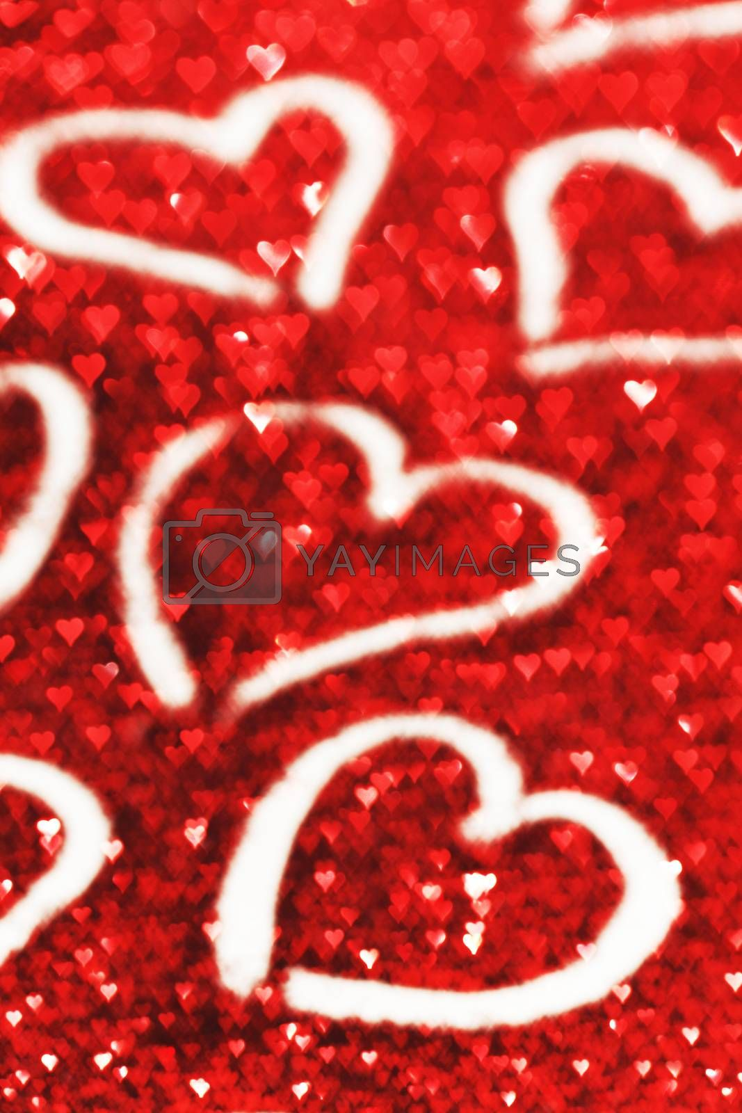 Happy Valentine's day card with hearts on glitter background