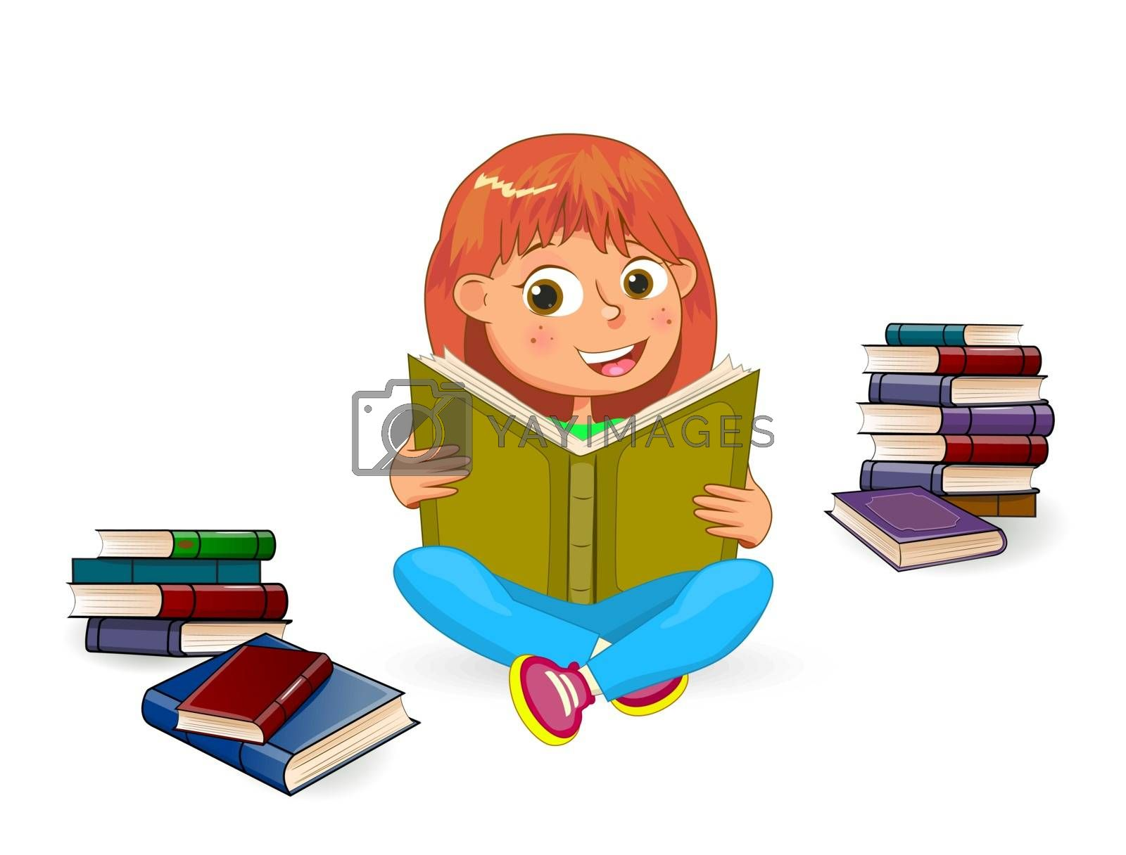 Girl with book in hands on a white background. Girl reading a book. Girl sitting among books.
