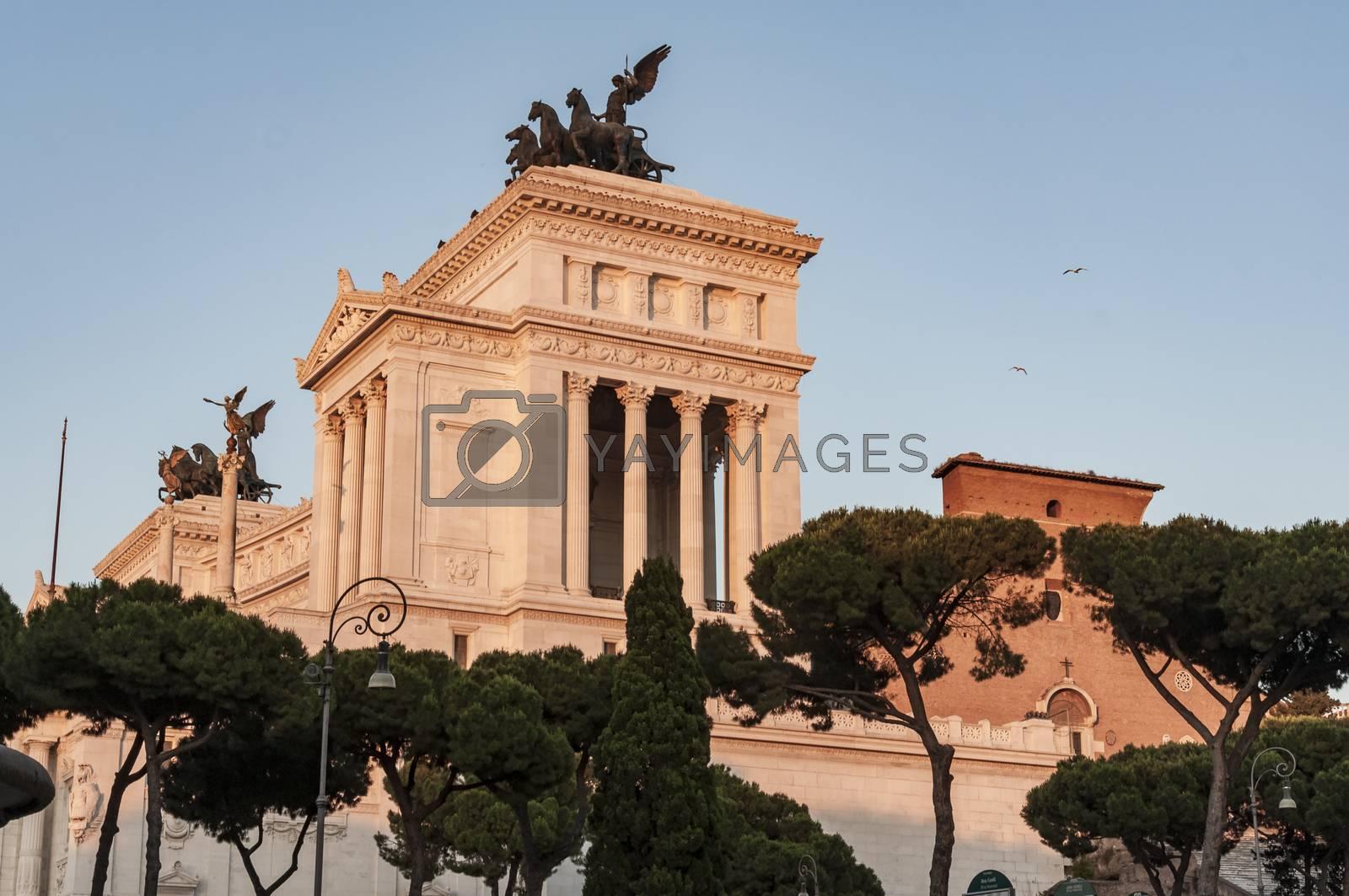 The Altare della Patria, also known as the Monumento Nazionale a Vittorio Emanuele II or Vittoriano, in Rome, Italy.