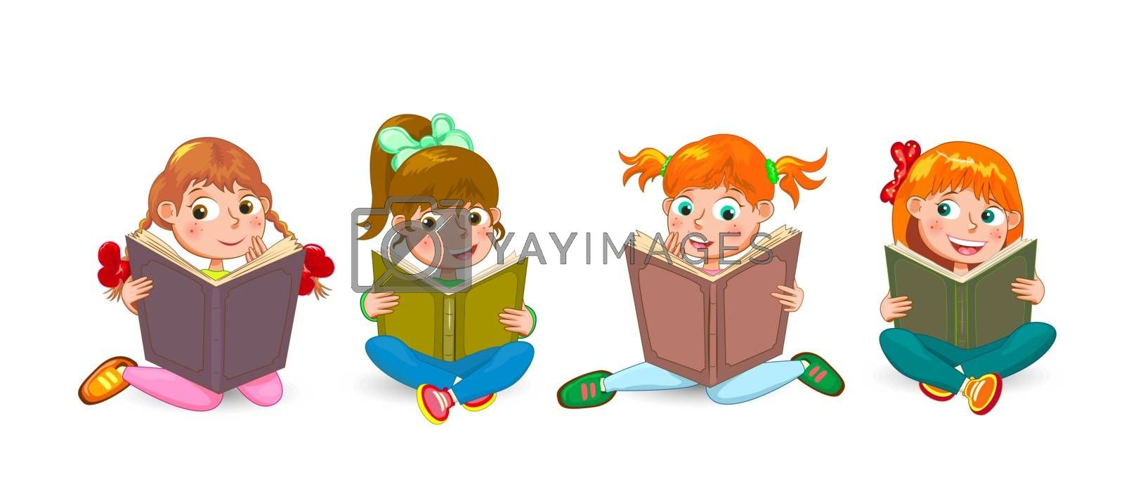 The girls are sitting with books in their hands. Girls with books on a white background.