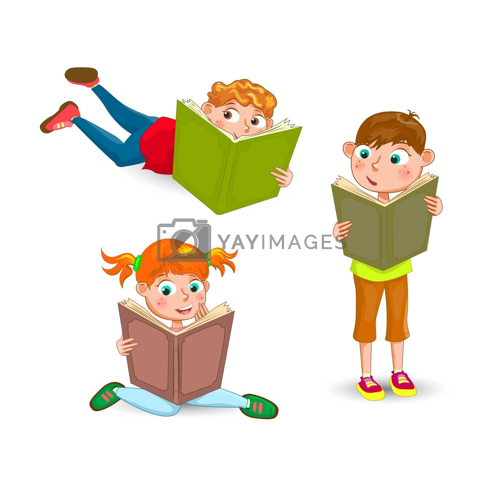 Children with books on a white background.