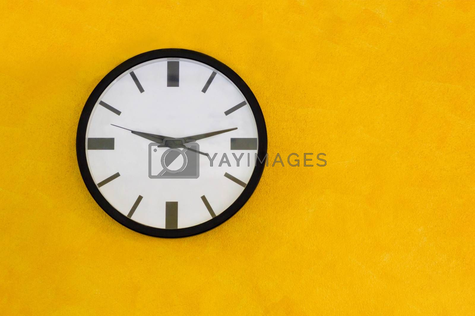 Circle Clock On Yellow Wall, Vintage Tone