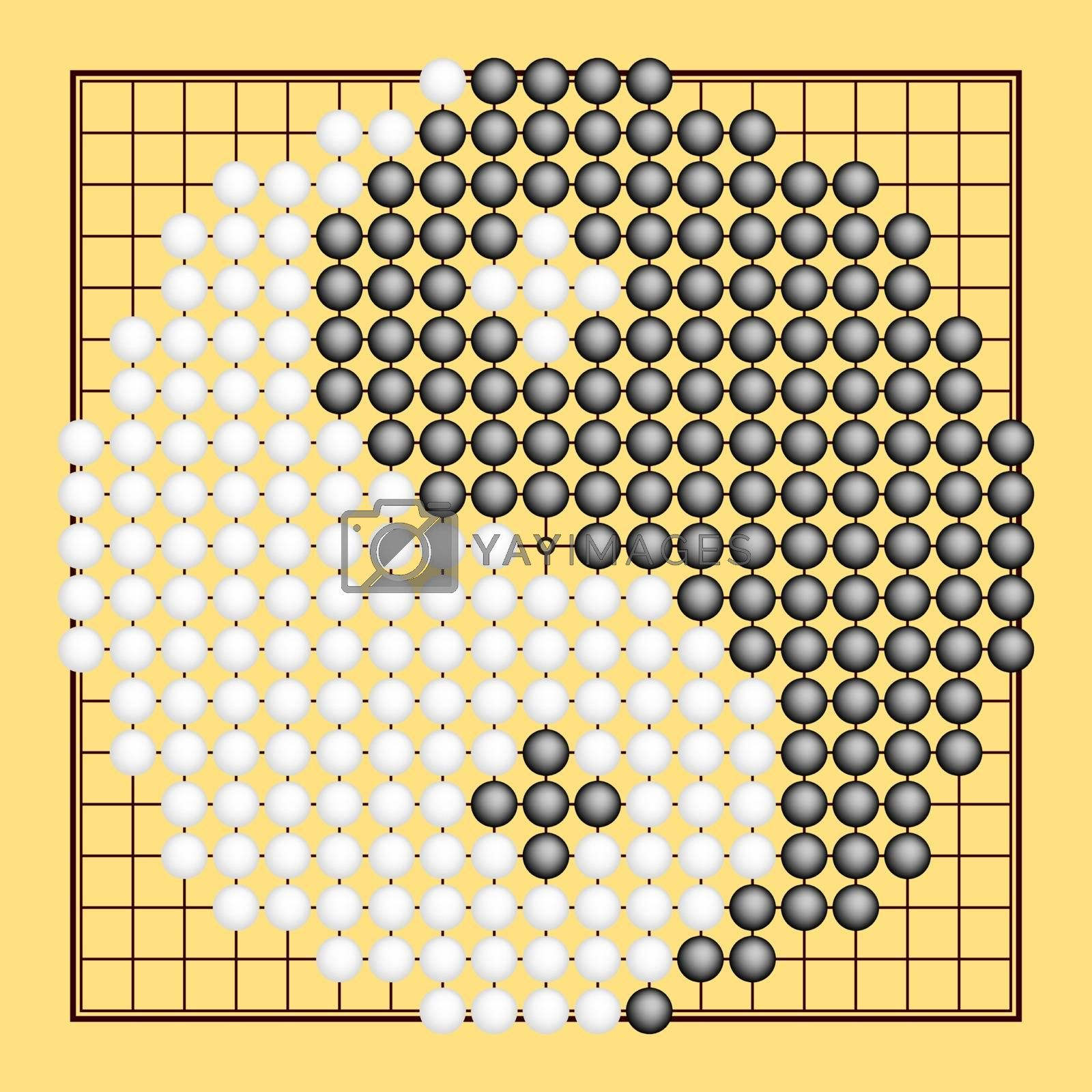 Vector Go game or Weiqi (Chinese board game) with yin yang symbol