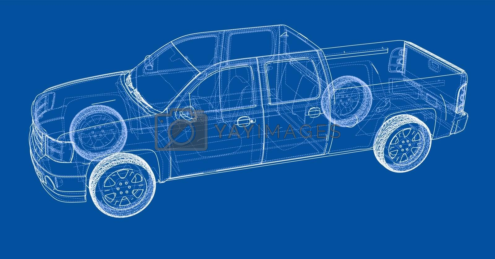 Car SUV drawing outline. Vector rendering by cherezoff