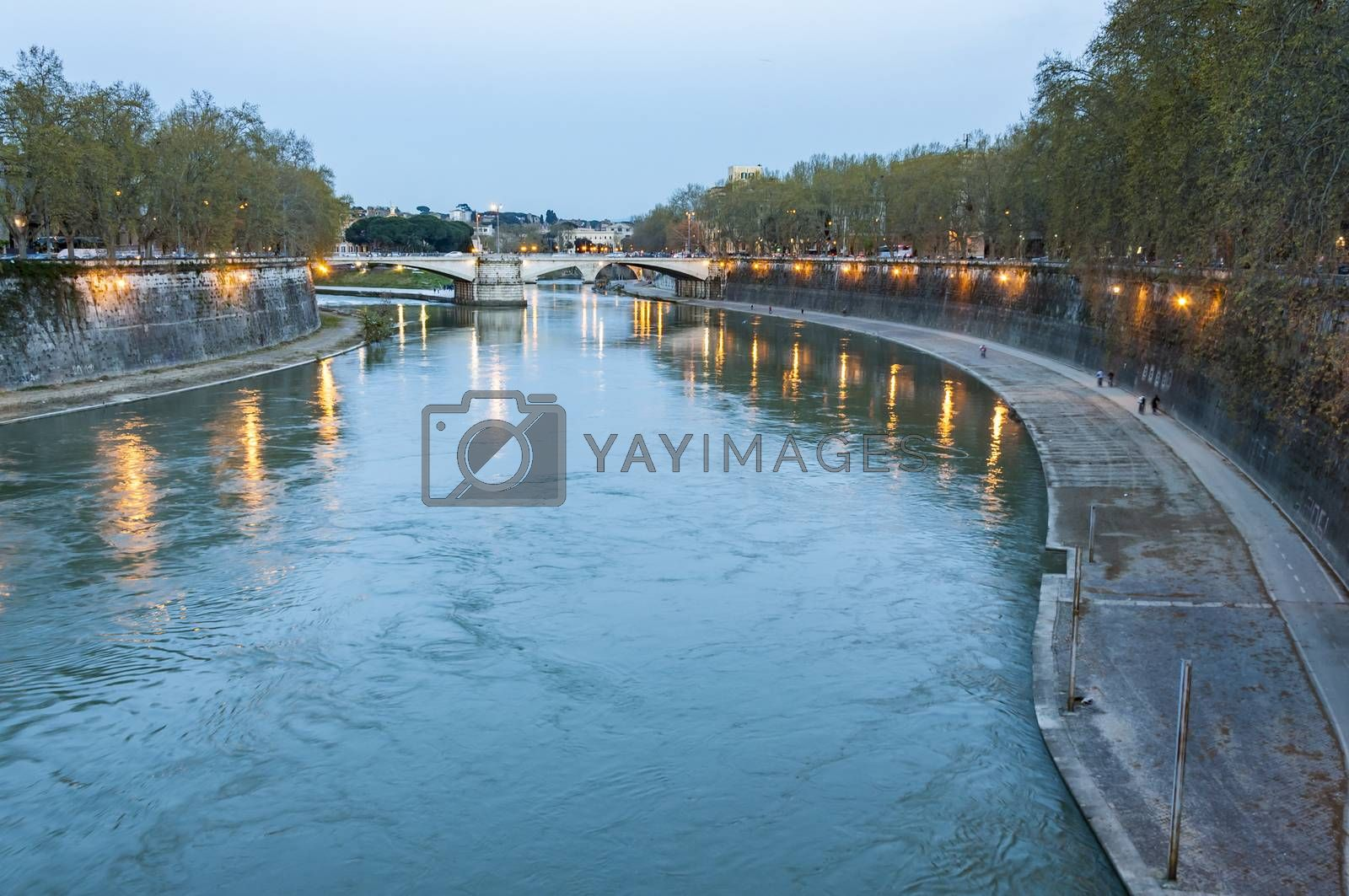 Lungotevere , The Tiber river at the dust in the city of Rome, Italy