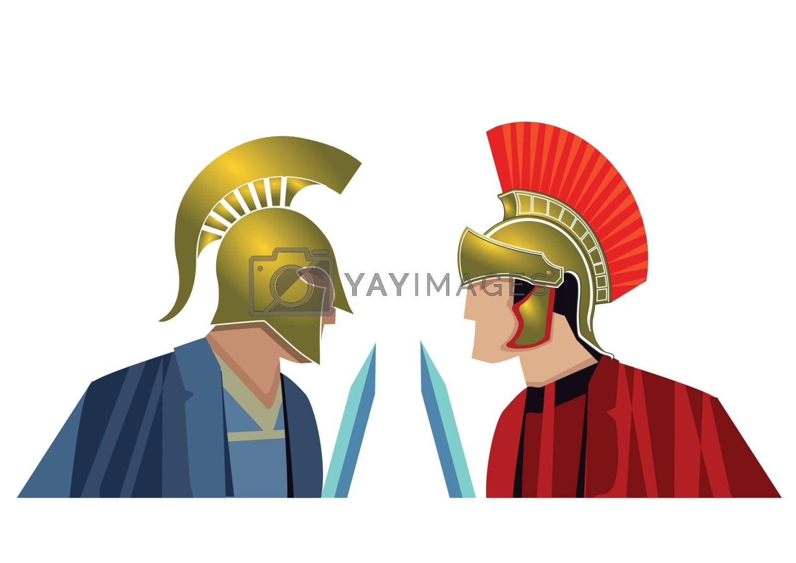 Ancient legionnaires in combat