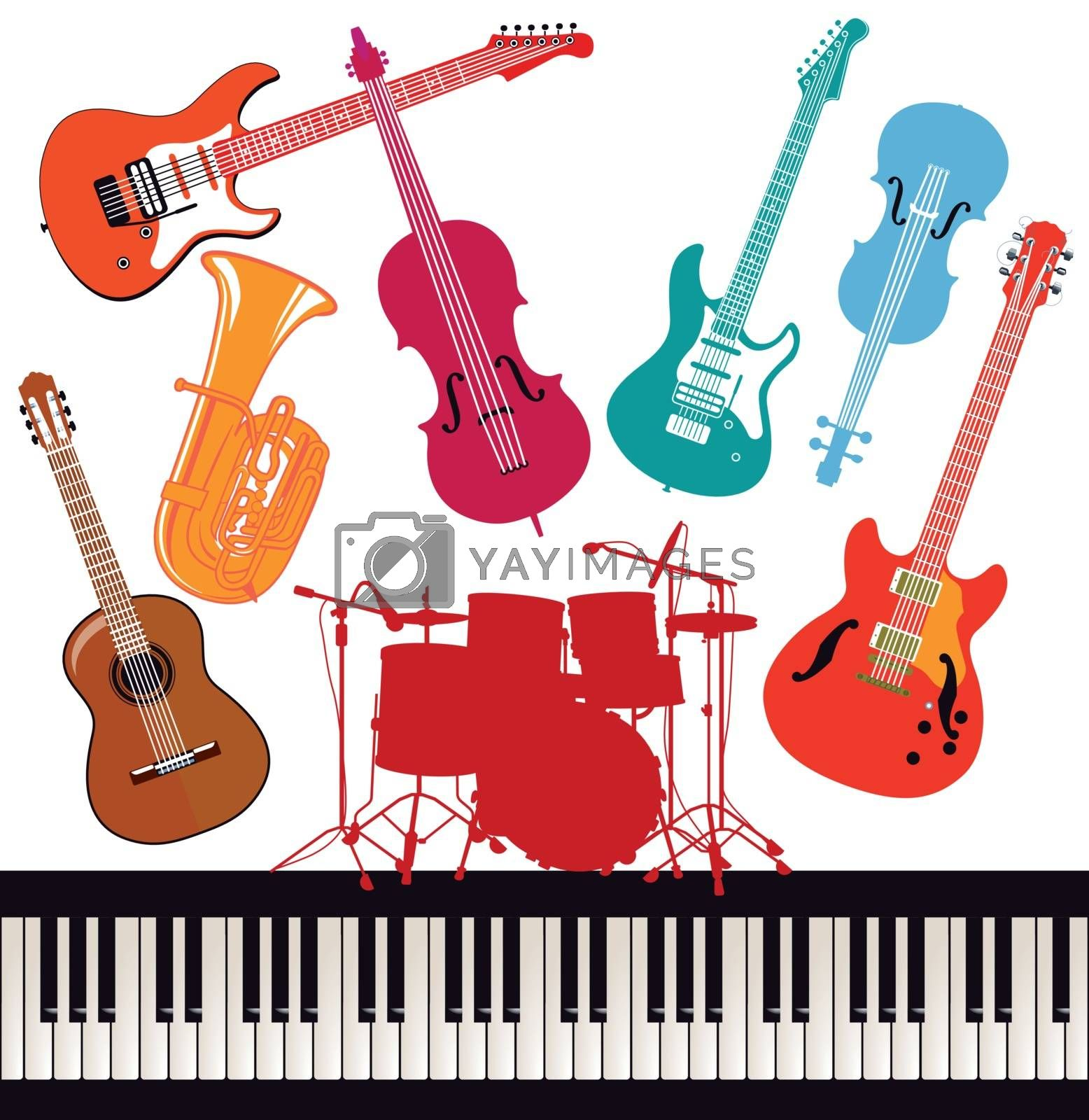 colorful musical instruments illustration
