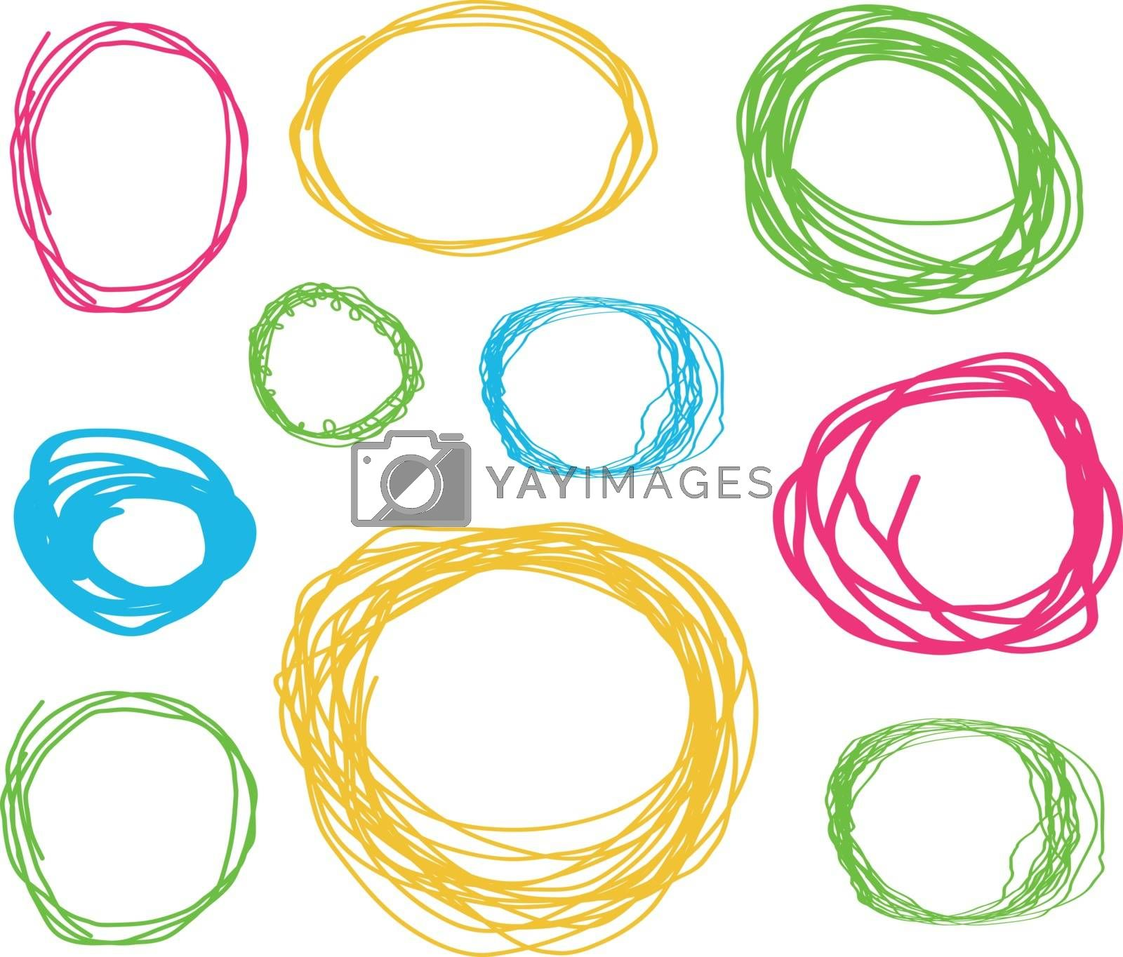 Hand drawn highlighter elements. Vector circles on white background