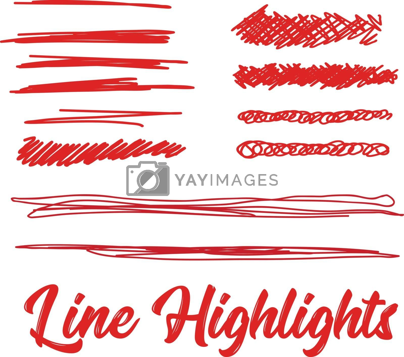 Hand drawn highlighter elements. Vector lines on white background