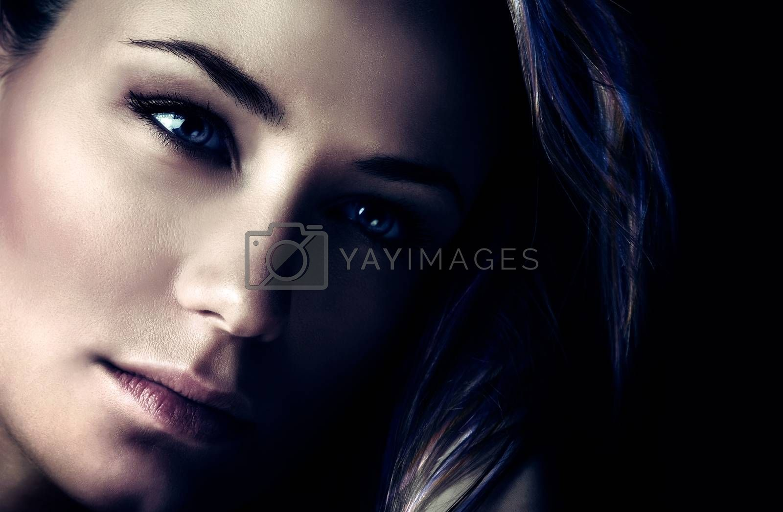 Fashion woman portrait, beautiful gorgeous female over dark background, closeup photo of a perfect womens face, style and beauty