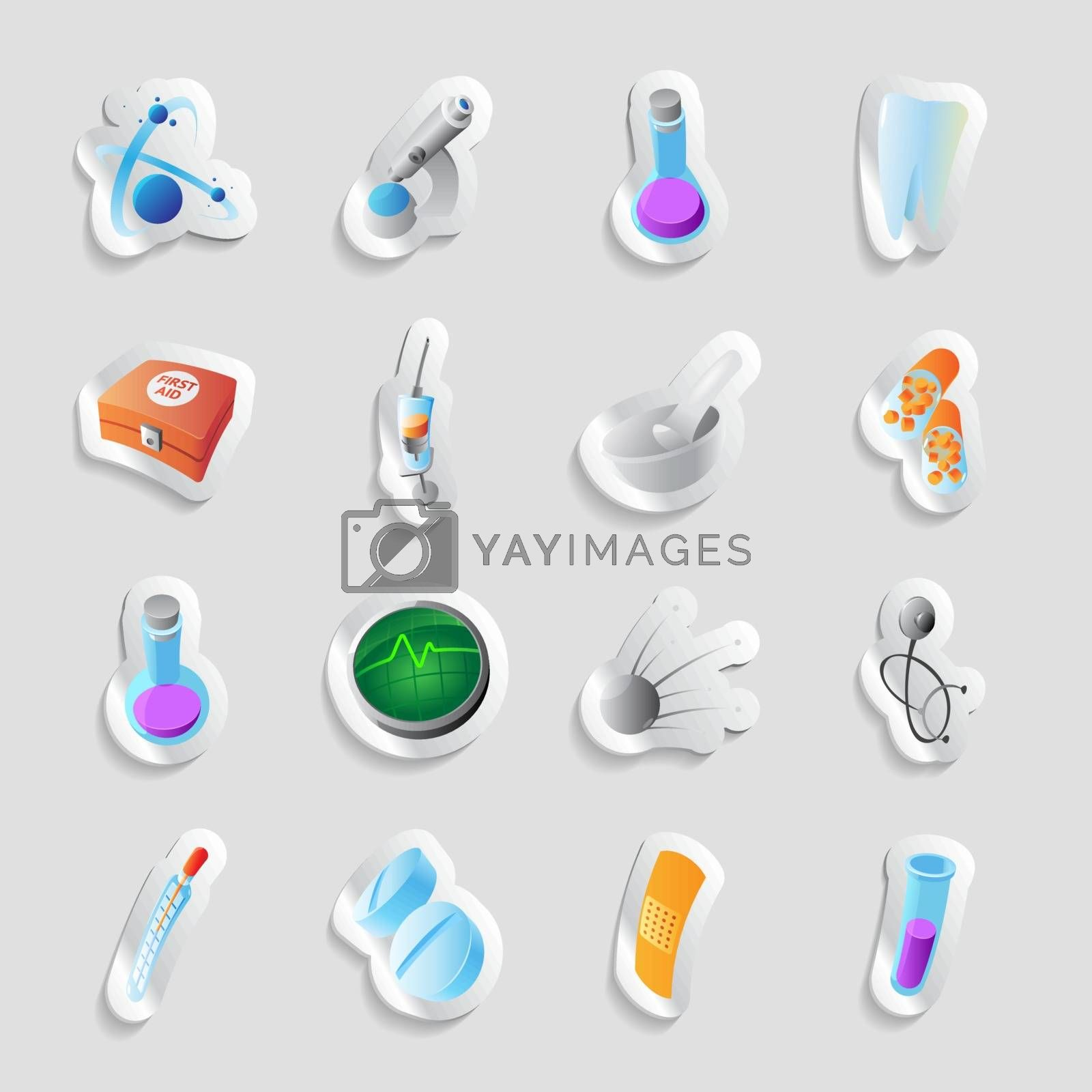 Icons for science and medicine. Vector illustration.
