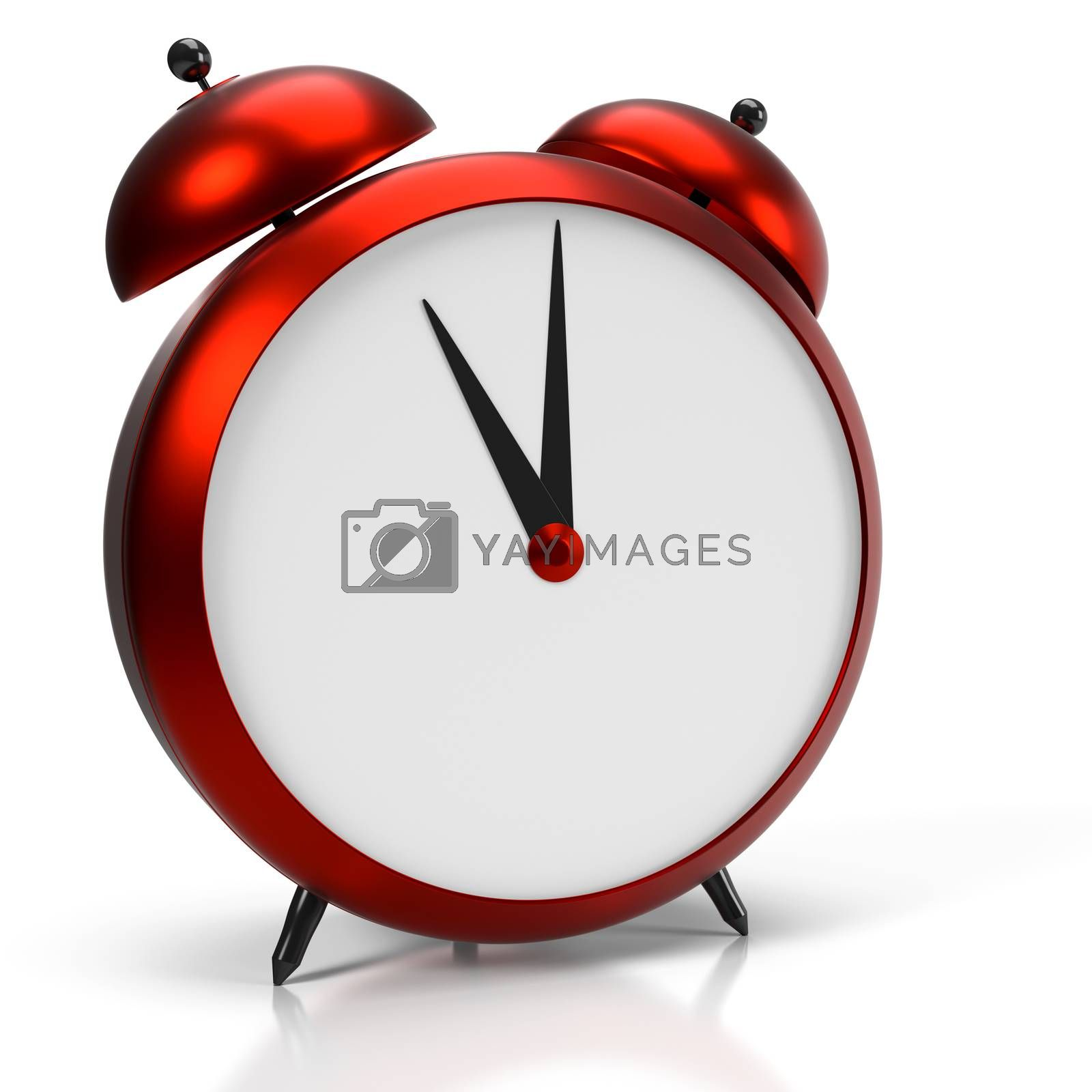 Alarm clock on white background. 11 O'Clock, am or pm. 3D rendering