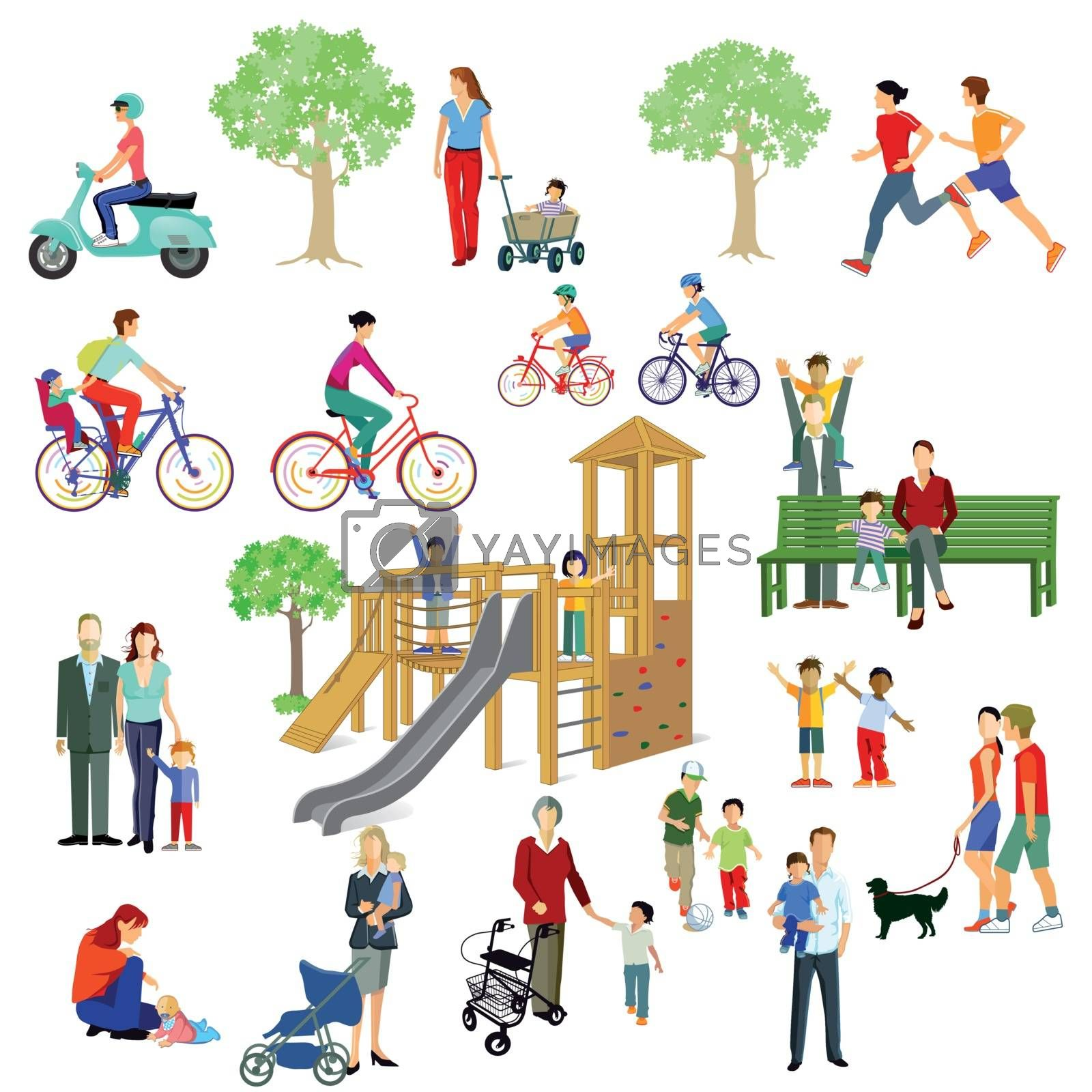 Families and people play in the park, illustration