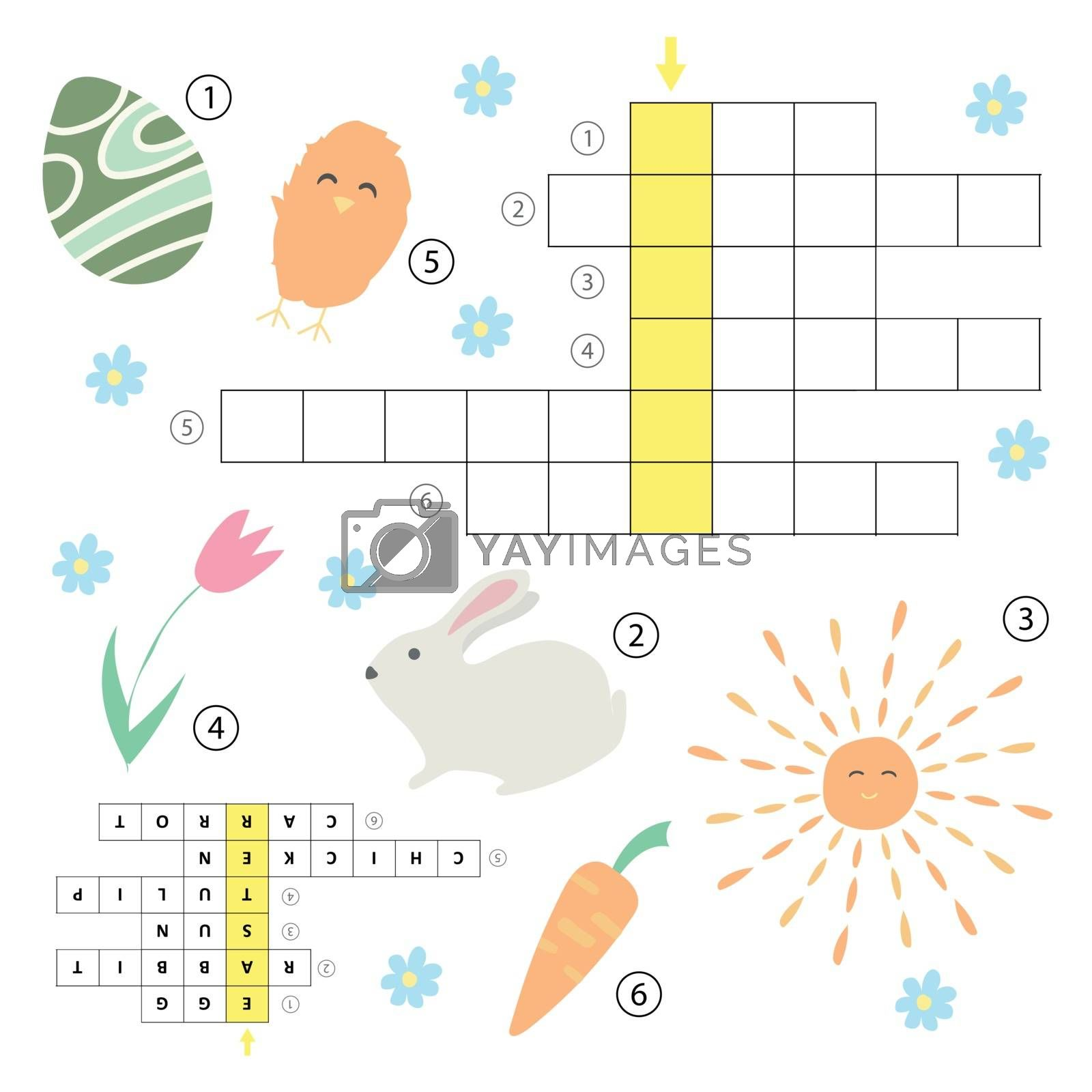 Crossword educational children game with answer. Learning vocabulary. Vector illustration. Easter theme puzzle