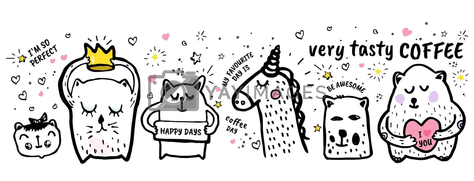 Very tasty coffee Vector freehand illustration background. Cover, banner with quote hand drawn doodles hearts stars, animals cat, bear, unicorn