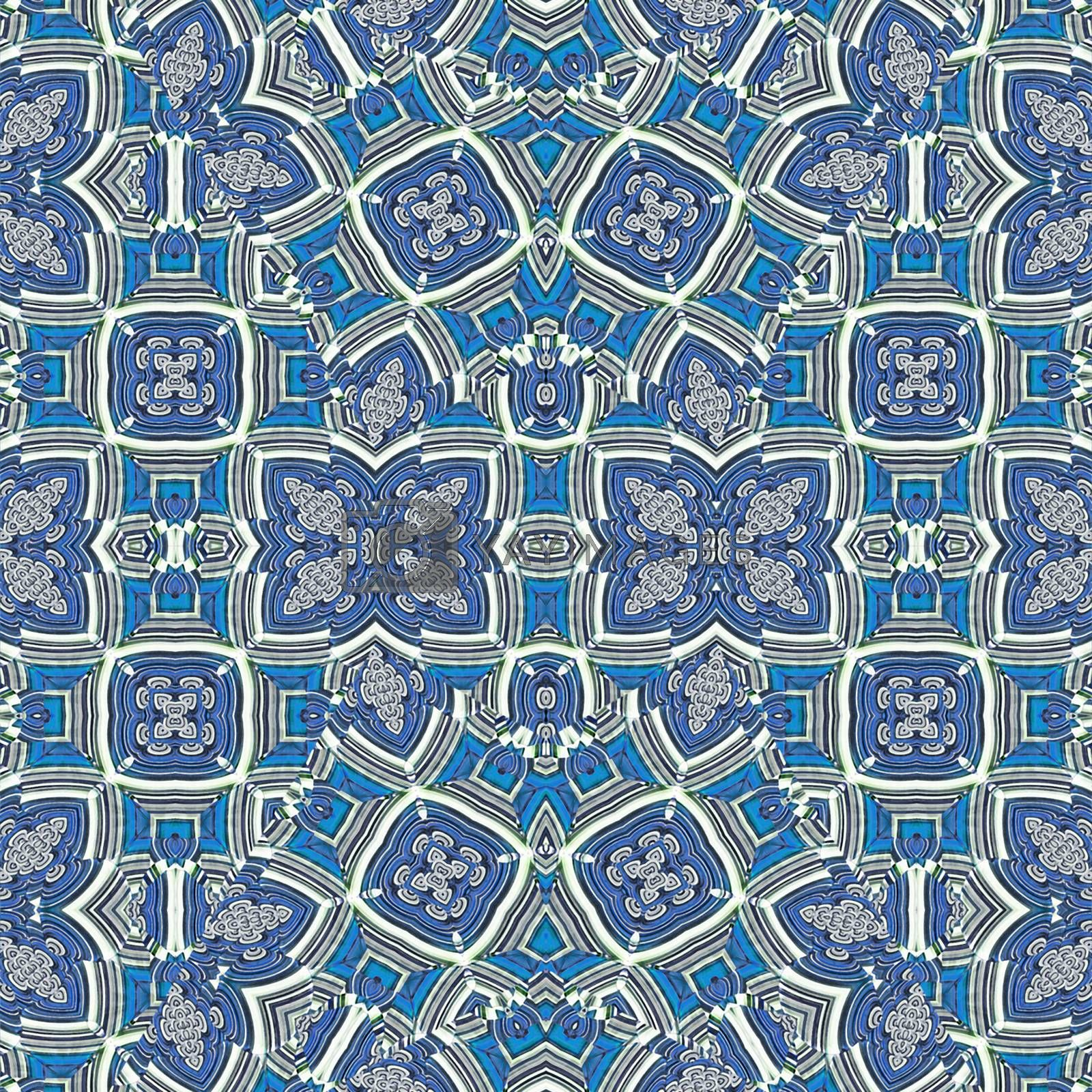Digital art collage technique luxury decorative modern geometric seamless pattern in blue and white colors.