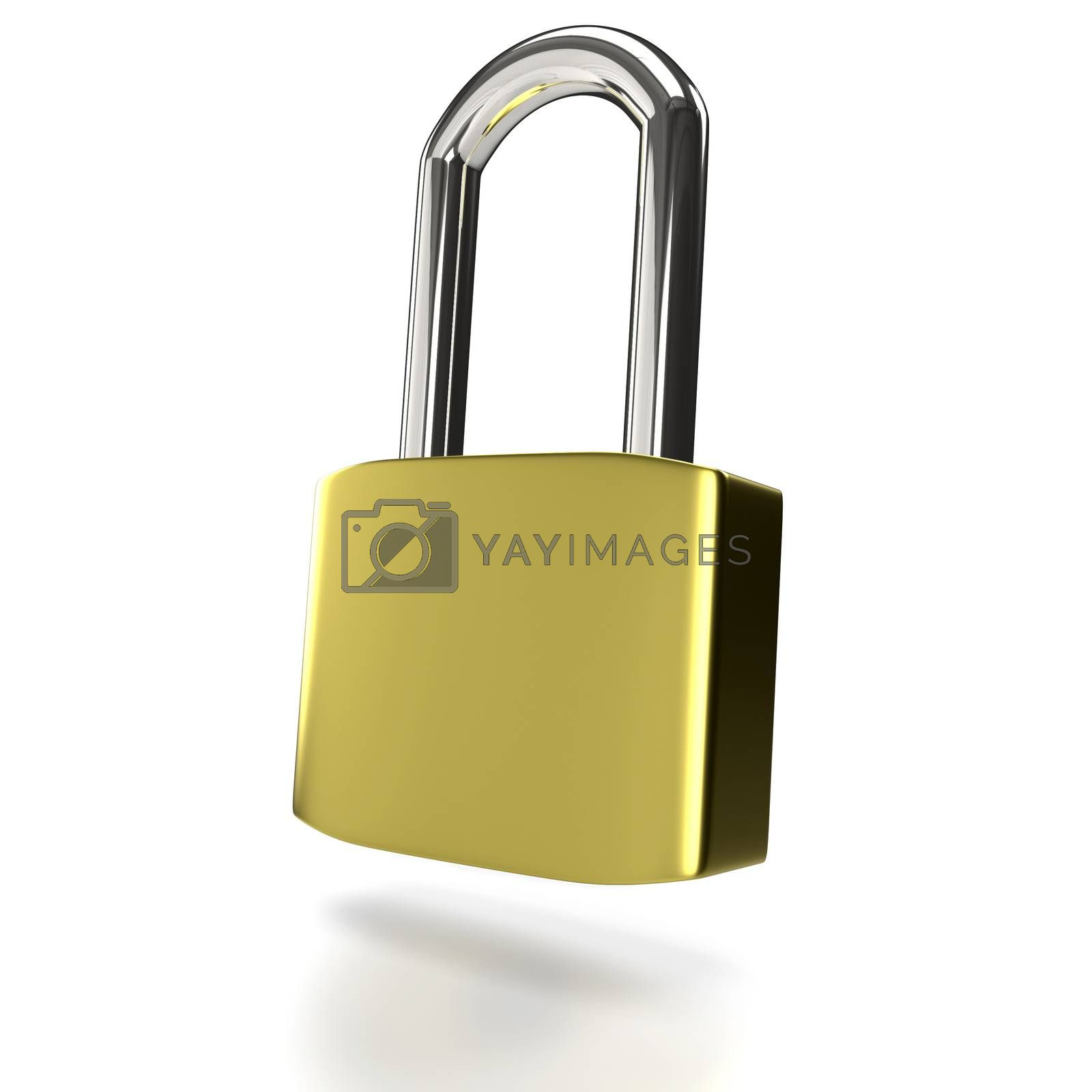 Metal padlock on a white background. 3D rendering