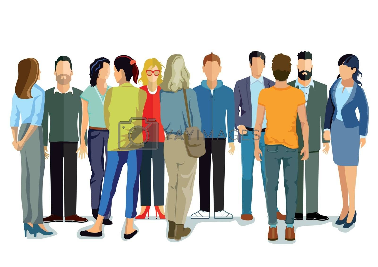 Person group of young people, illustration