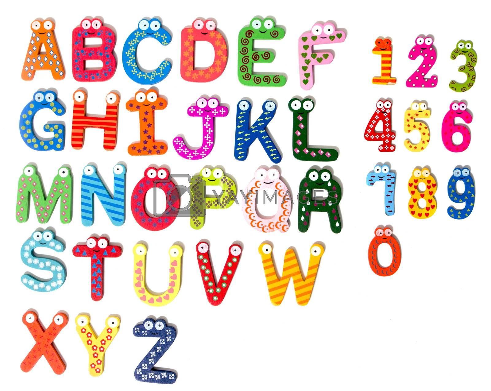kid wooden colorful letters isolated on a white background.