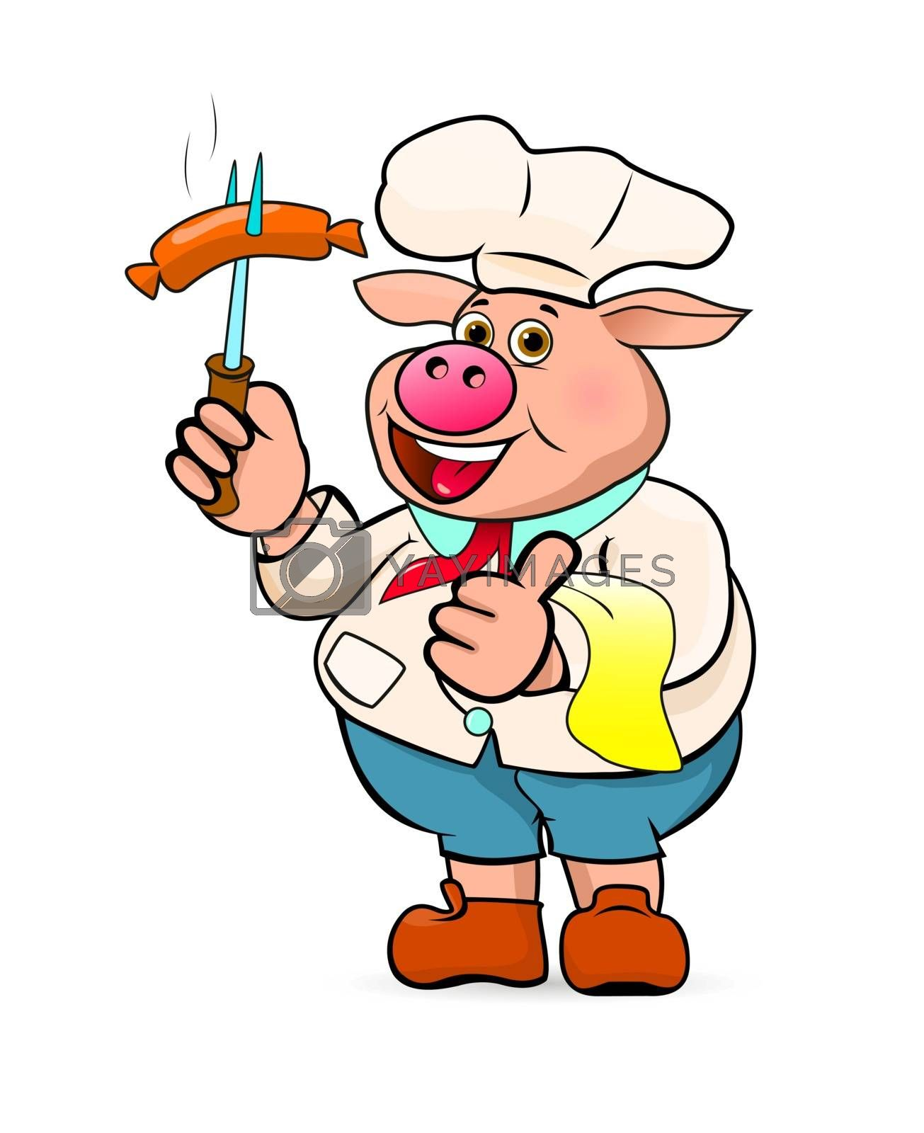 A cartoon pig holds a barbecue sausage in his hand. A cartoon pig cook with sausage in his hand.