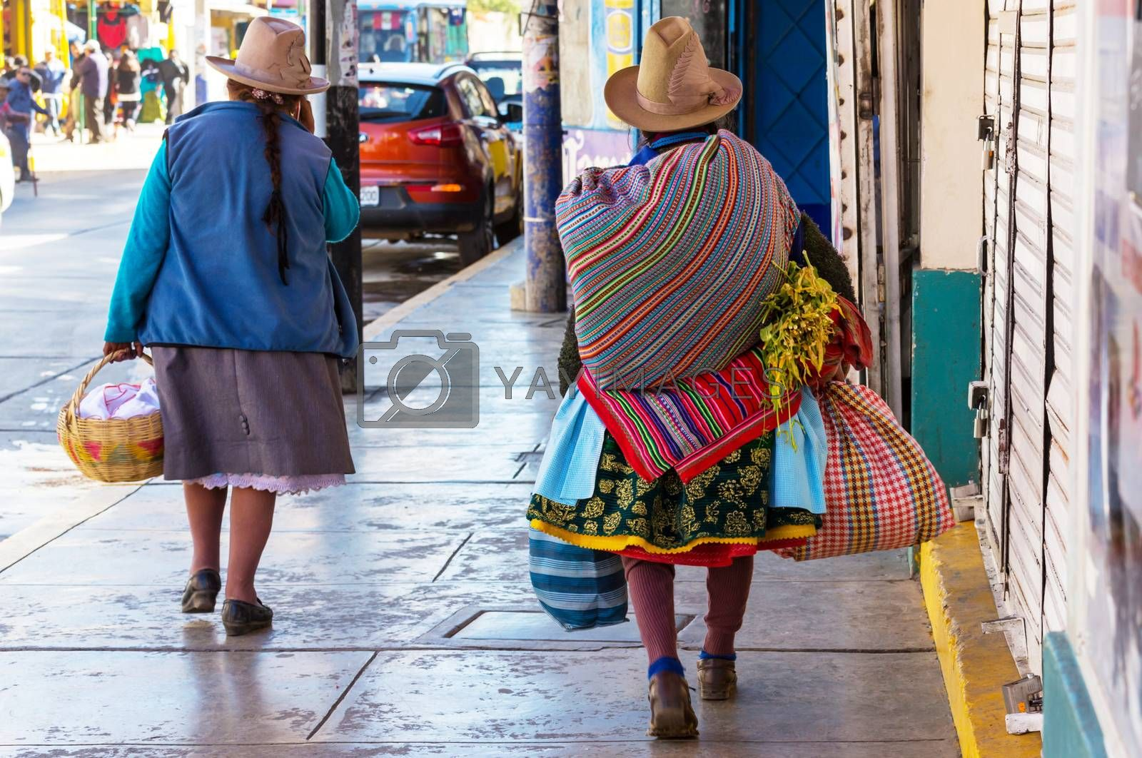 Peruvian people in city street