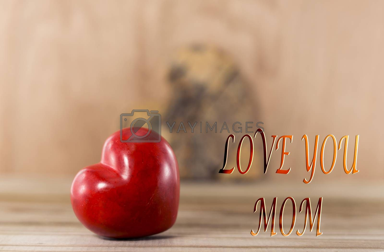 Happy mothers day red heart shape