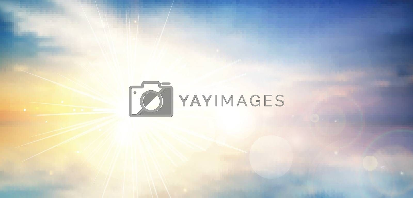 panorama twilight blurred gradient abstract background. colorful sea and sky with sunlight rays backdrop. vector illustration for your graphic design, banner or poster